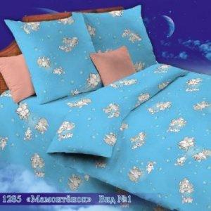 Постельное белье бязь иваново детское - 1285-1 мамонтенок голубой