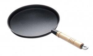 Сковорода чугунная блинная 240/15 с деревянной ручкой Luxstahl [HE96]